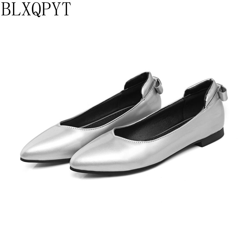 BLXQPYT 2017 New Big Size 33-46 Ladie's Spring/ Autumn Low Heel Shoes Women Sweet Causal For Girls Pointed toe Flat shoes J-6 new 2017 spring summer women shoes pointed toe high quality brand fashion womens flats ladies plus size 41 sweet flock t179