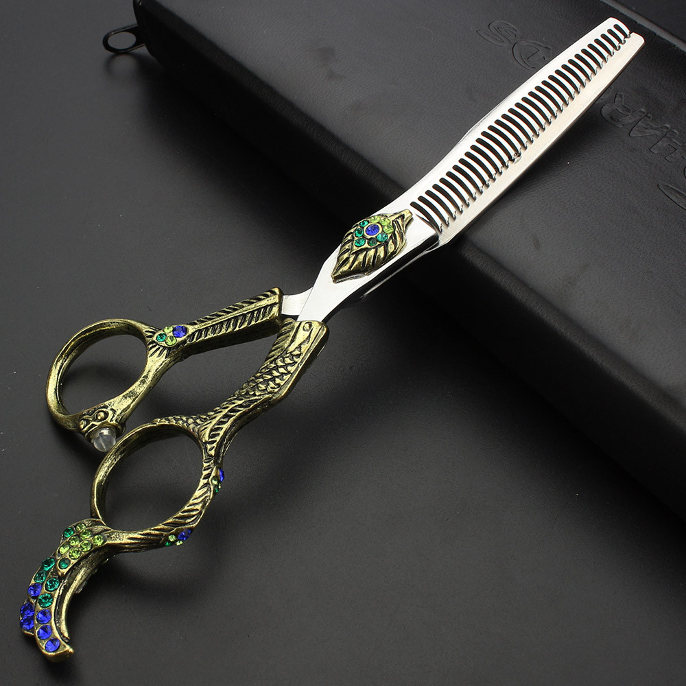 sharonds hairdressing shop professional 6 inch haircut scissors suit personality gold ruby styling hairdressing scissors set Sharonds Tesi professional hairdressing scissors 6 inch personality peacock open Thinning Scissors hair stylist dedicated