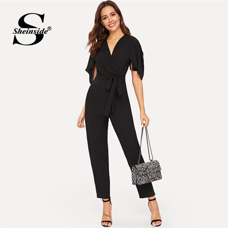 Sheinside Black V Neck Belted   Jumpsuit   Women 2019 Spring Ruffle Detail Open Shoulder Trim   Jumpsuit   Ladies Back V-Cut   Jumpsuits