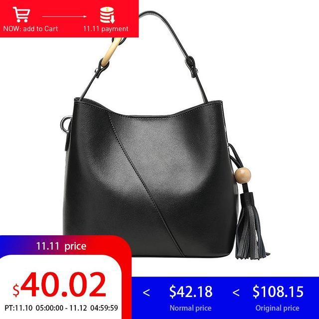 363a2a96846 Aliexpress.com : Buy LY.SHARK Women Leather Handbags Simple Tassels Genuine  Leather Bag High Quality Bucket Bag Luxury Handbags Women Bags Designer ...
