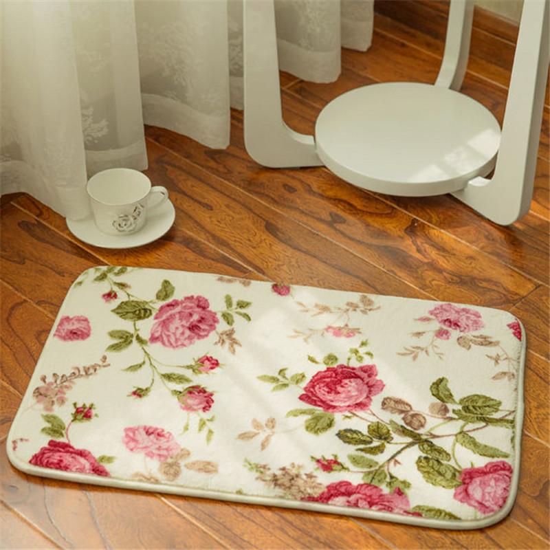 beibehang Coral Flock Print Stretch Cotton Anti-Slip Pad Kitchen Mat Pad Floor In Room Door Locker Bathroom Non-slip Pad Floor