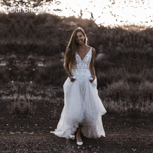 V Neck Beach Wedding Dress Real Photo Lace Appliqued Bare Back Bridal Gown