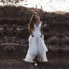 Vネックビーチウェディングドレス本物の写真レースアップリケベアバック花嫁衣装