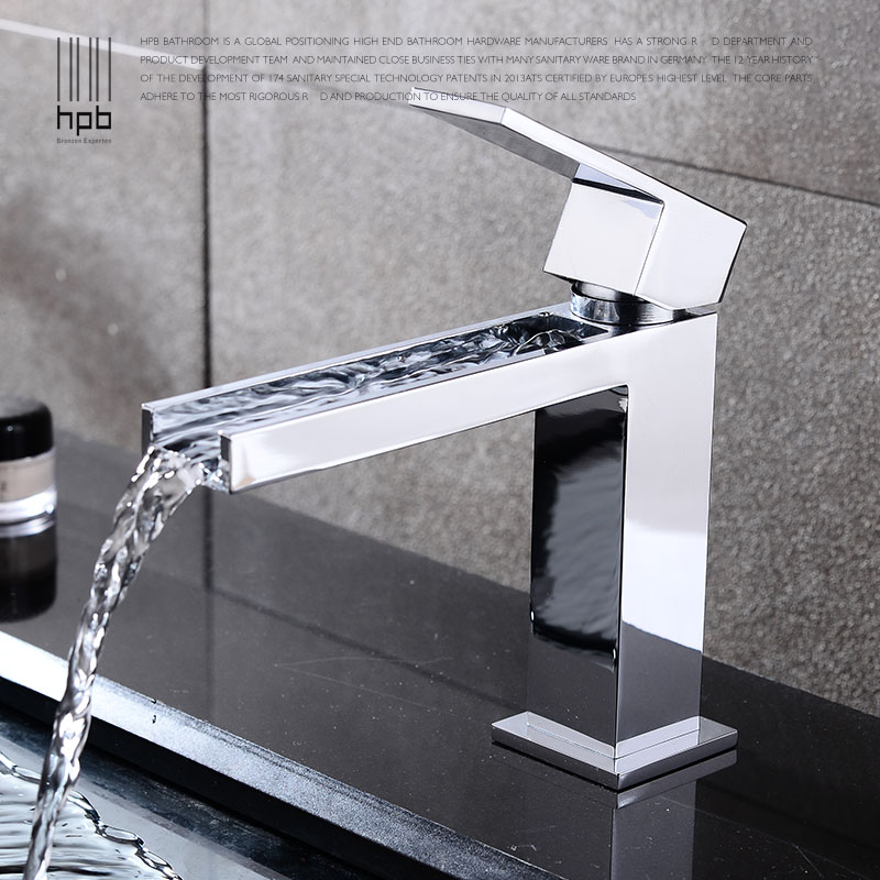 HPB Brass Chrome Bathroom Basin Waterfall Faucet Sink Mixer Single Handle Hot And Cold Water Square Style HP3006 hpb tall basin sink faucet long nose bathroom brass chrome single lever mixer tap hot and cold water high quality square style