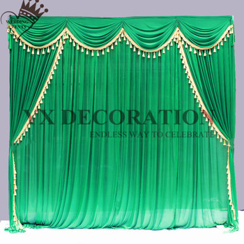 2 2.4 3 6M Ice Silk Wedding Backdrop Curtain With Edge Tassel Swag Drape Valance Event Banquet Decoration