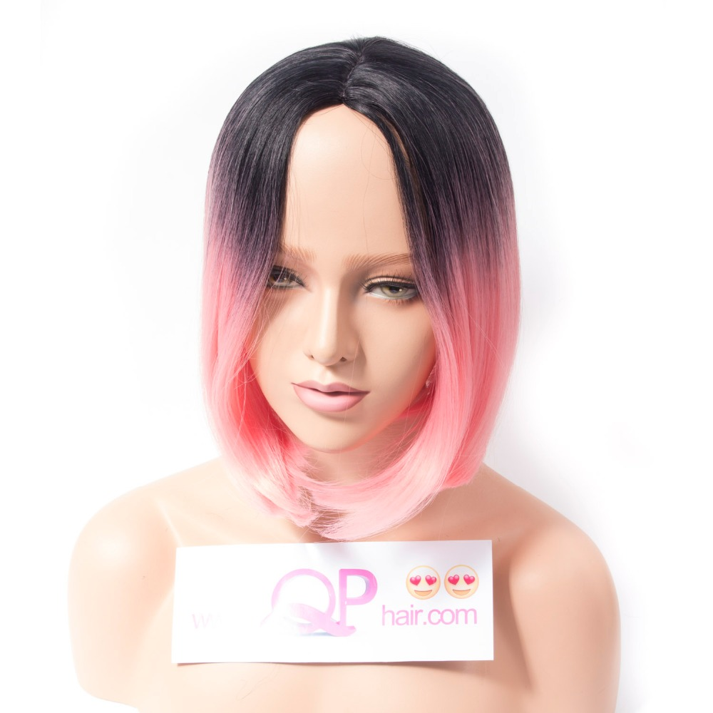 Qp hair Bob Style Straight Ombre Synthetic Wigs for Women Pink Color Wig With Heat Resistant