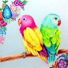 Daimond Painting Bird 3D DIY Diamond Broderi Två Papegojafåglar på Träd Bilder av Rhinestones Måla Rhinestones