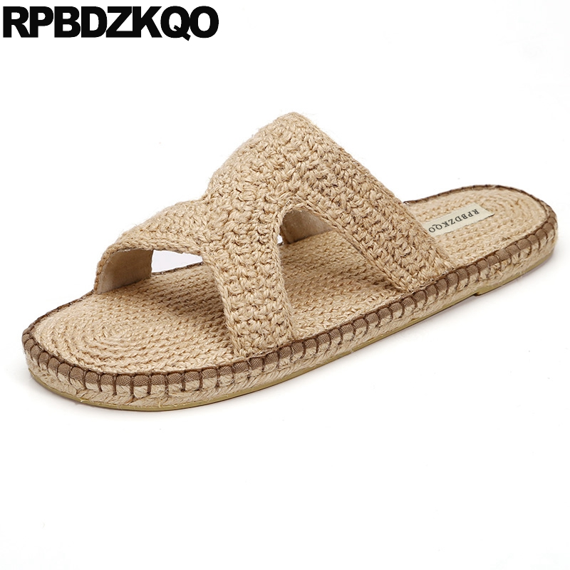 Slip On Designer Slides Espadrilles Slippers Casual Fashion Open Toe Fisherman Woven Shoes Mens Sandals 2018 Summer Outdoor Rope black flat casual designer sandals women luxury 2017 summer slip on embellished pearl soft slippers slides shoes open toe metal