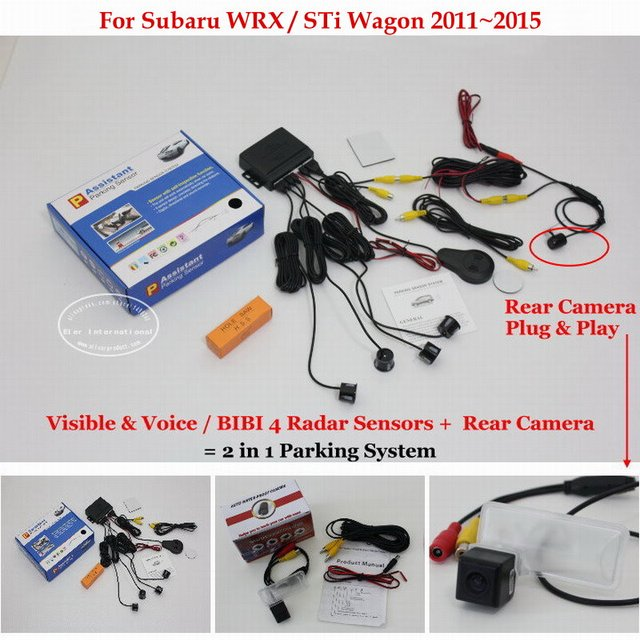 For Subaru WRX / STi Wagon 2011~2015 -Car Parking Sensors + Rear View Back Up Camera = 2 in 1 Visual / BIBI Alarm Parking System