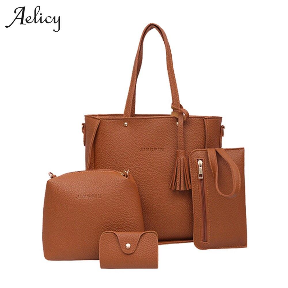 Aelicy mujeres bolsa 4 Unidades mango superior de gran capacidad mujer borla urses y bolsos de hombro bolsa de cuero de la PU de cuero bolsa de saco principal