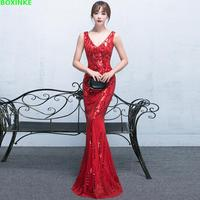 2018 Time limited V Sparkly Shiny Sequin Beaded Mermaid Evening Party Dresses Women Floor Length Prom Gown Dress Long Plus Size