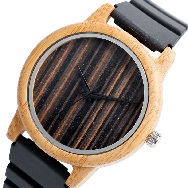 Creative Stripe Dial Face Mens Watches 100% Nature Bamboo Wood Quartz-watch Fashion Silicone Band Strap Wooden Wristwatches Gift  pure white dial face ziz time watches navy
