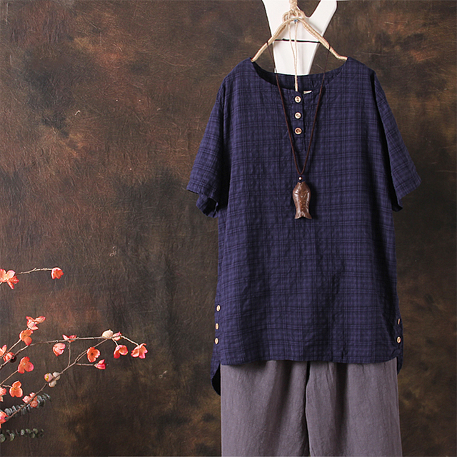 ad7b18a1d1f 2018 Summer Top ZANZEA Women O Neck Short Sleeve Cotton Linen Baggy Shirt  Irregular Retro Buttons Check Plaid Blouse Oversized-in Blouses   Shirts  from ...