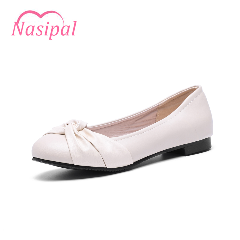 Nasipal Shoes Women Solid Loafers Shallow Bow-tie Colors Women Flats Ballet Spring Autumn Flat Shoes Woman Big Size 31-47 C110 sweet loafers women heels shoes for spring women ballet shoes breathable heels shoes autumn shoes orientpostmark