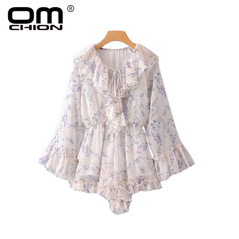 OMCHION 2018 Summer Women Holiday   Jumpsuit   Ruffles Floral Print Lace Up Sweet Bodysuit Bohemian Loose Sexy Playsuit LA266