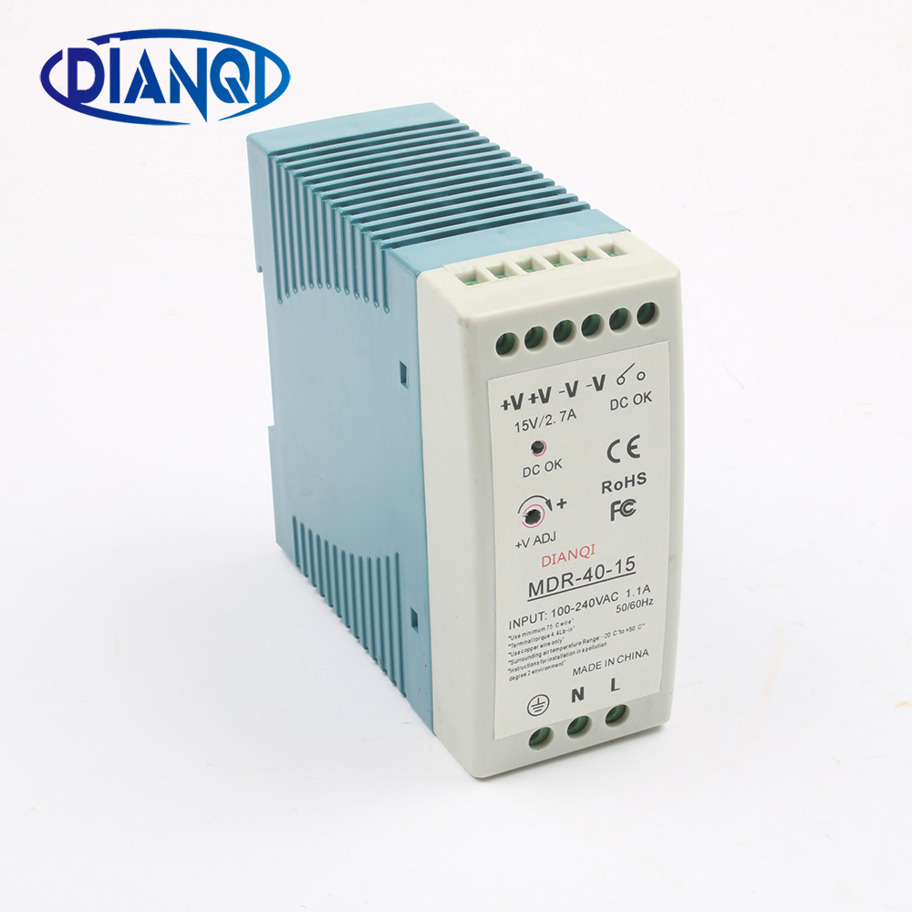 DIANQI MDR-40 12V 5V 15V 24V 36V 48V 40W Din Rail power supply ac-dc power supply unit 110V 220V for LED Strip Light low price switching power supply led din rail mounted power supply transformer 110v 220v ac to dc 5v 12v 15v 24v 48v 45w output
