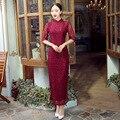 Burgundy Chinese FemaleTradition Qipao High Quality Slim Long Cheong-sam Tang Suit Dress Vestido De Festa Size S M L XL XXL