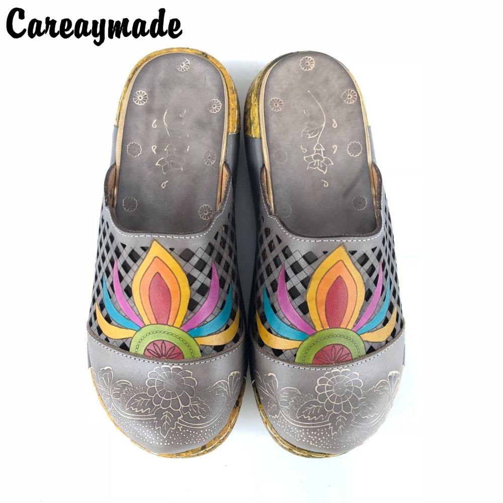 Careaymade-Folk style Head layer cowhide pure handmade Carved shoes, the retro art mori girl shoes,Women's casual Sandals0933-82 careaymade new 2017 summer head layer cowhide pure handmade shoes the retro art mori girl flat singles shoes ivory white&green