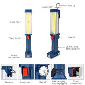 Image 2 - USB şarj edilebilir 18650 el feneri 2 modları COB LED manyetik çalışma ışığı döner kanca araba tamir çalışma ışığı güç bankası fener