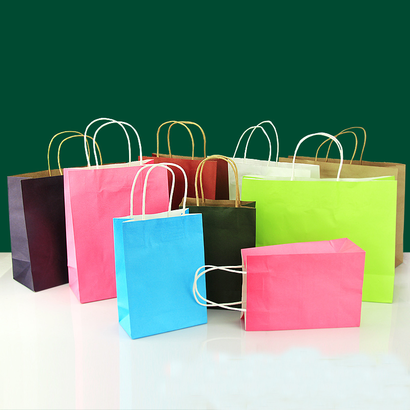 40pcs Lot 21cm 15cm 8cm Kraft Paper Gift Bag Festival
