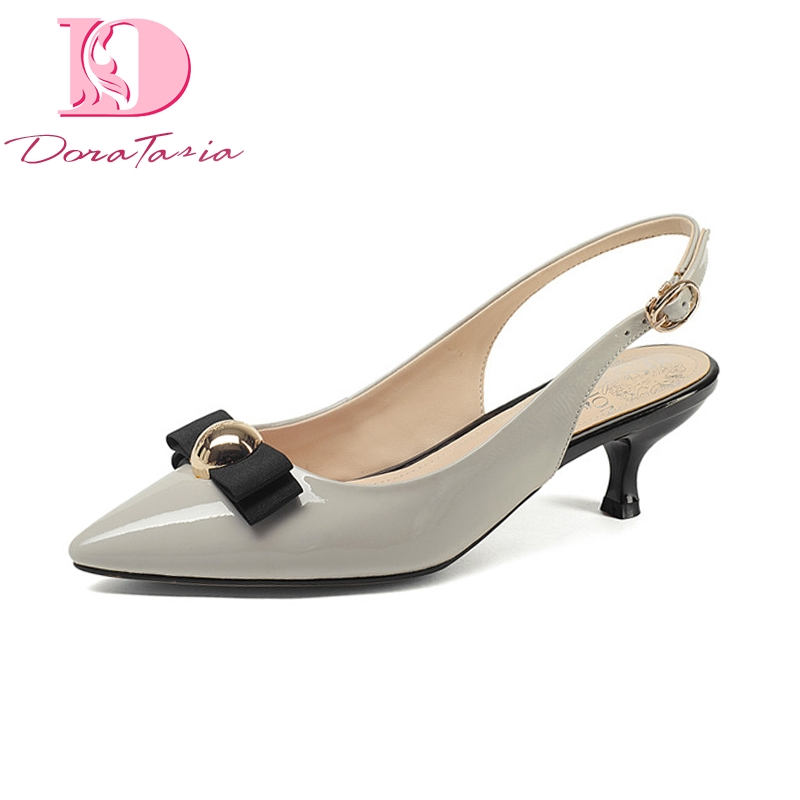 Doratasia Brand Design Genuine Leather Buckle Strap Thin Med Heels Solid Metal Decoration Shoes Woman Casual Summer Pumps bonjomarisa brand new genuine leather square high heels solid metal decoration bowtie shoes woman casual summer pumps