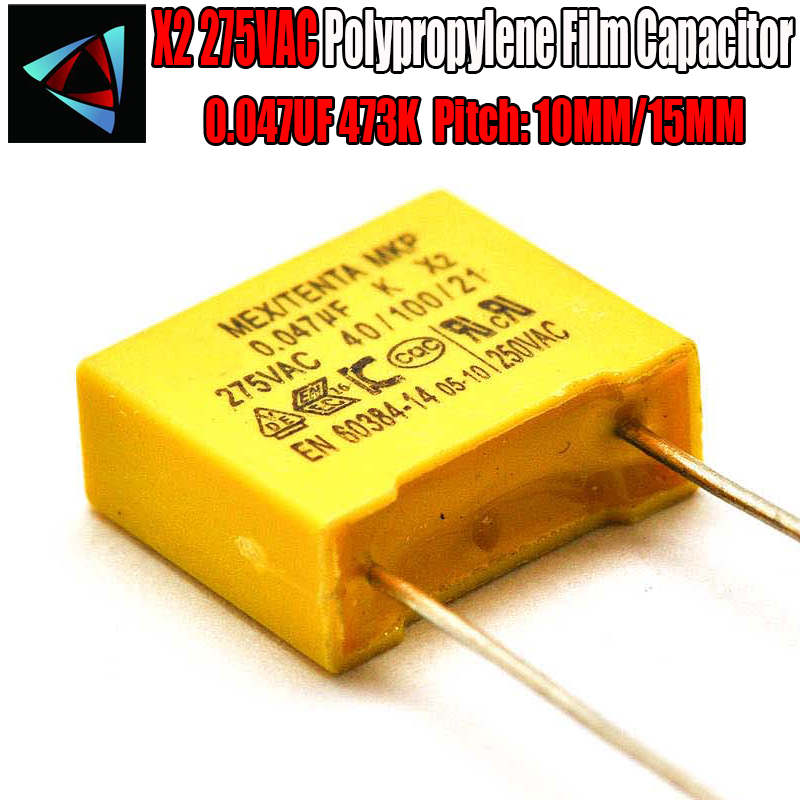 10 Pcs 0.047uF Capacitor X2 Capacitor 275VAC Pitch 10mm 15MM X2 Polypropylene Film Capacitor 473K
