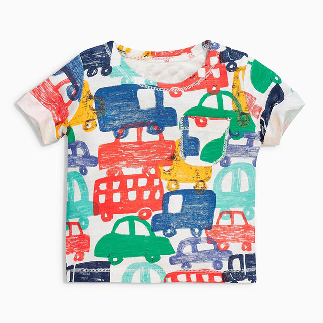 Retail Brand 2017 Children's blouse T-shirt Kids Baby boys Clothing tshirts Summer Clothes Cartoon  Dinosaur Car  free shipping