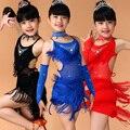 Free Shipping Marginal Fringed Blue Pink Black Red Dress Kids Girls Children Latin Dress Girls Latin Dance Clothing