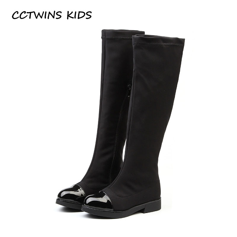 CCTWINS KIDS 2018 Children Brand Stretch Fabric High Boot Kid Fashion Over-the-Knee Boot Baby Girl Toddler Black Shoe C1178 cctwins kids 2017 children brand high boot kid fashion over the knee boot baby girl toddler genuine leather black shoe c1312