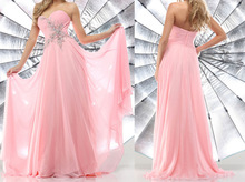 2017 High Quality Sweetheart Long Prom Dresses Custom Made Beading Chiffon Pink Long Prom Dresses Sexy Homecoming Dresses