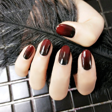 24Pcs Black Red Gradient Oval Fake Nails Kiss luxury Impress Press On Nail Square Glossy Long False With Glue Sticker