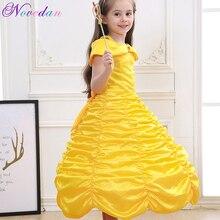 Платье для девочек «Красавица и Чудовище» с открытыми плечами; цвет желтый; сексуальный костюм принцессы Белль жасмин для костюмированной вечеринки; праздничная одежда для детей