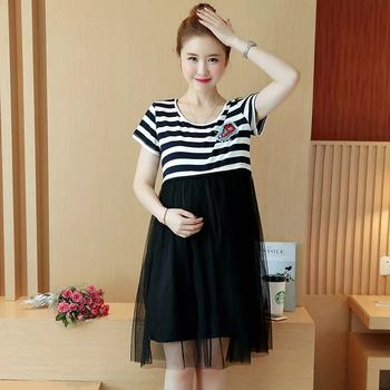 2017 Hot new Maternity dress casual cotton maternity clothes plus size ledies stripe Pregnant dresses vestido amarelo image