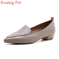 2018 New Arrival Genuine Leather Fashion Brand Spring Shoe Pointed Toe Shallow Low Heels Women Pumps