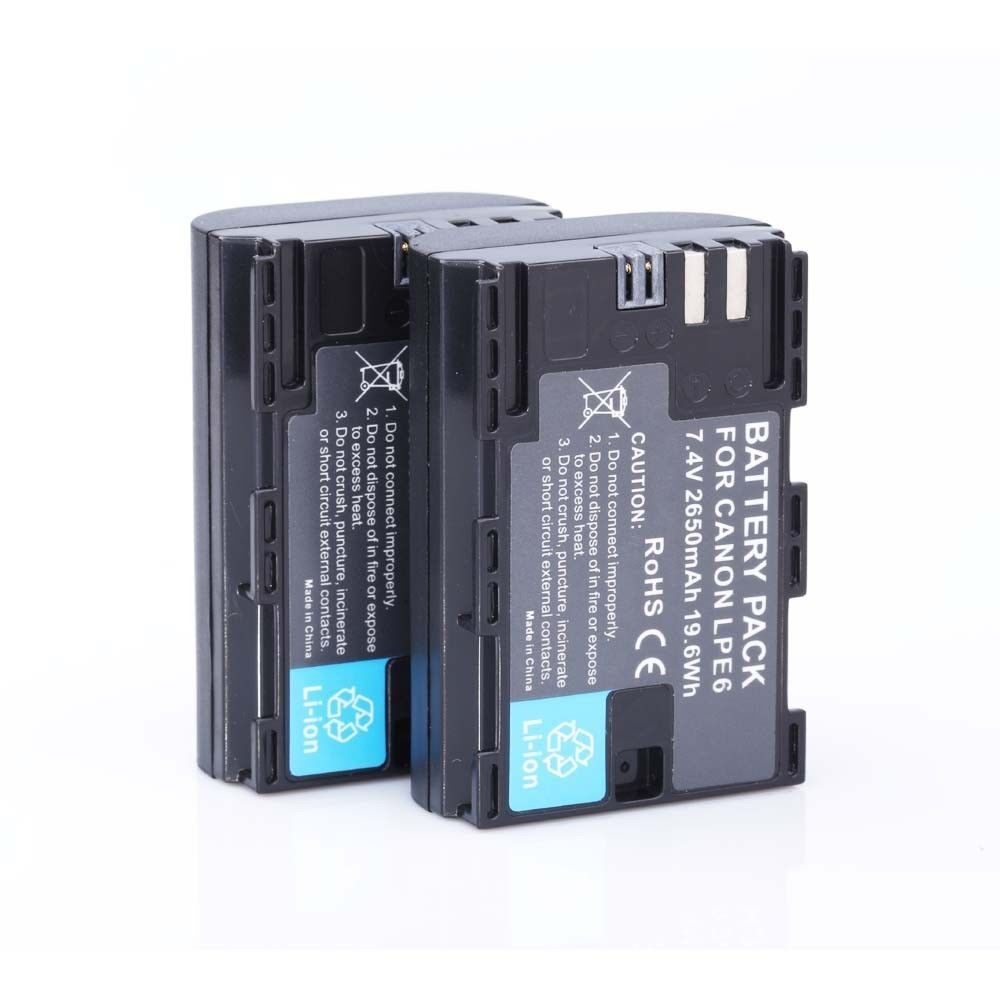 [HI-BTY] 2pcs  Full code LP-E6 LPE6  LP E6 Batteries For Canon 5D Mark II III 7D 60D EOS 6D Free shipping hot sellling 2pcs full code decoded 1800mah lp e6 camera digital battery lpe6 batterie for canon dslr eos 60d 5d3 7d 6d 70d 5d