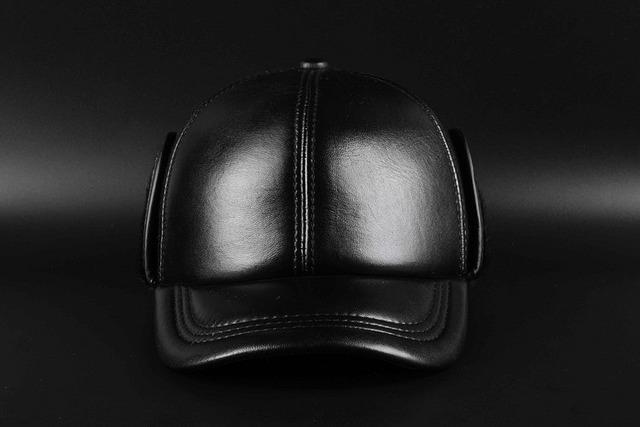Atacado primavera 2017 Chapéu de pele de Carneiro Couro Genuíno de Alta Qualidade Chapéus Boné de Beisebol Ajustável Para Homens Tampas Pretas Frete Grátis