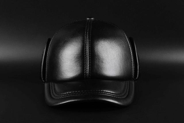 Wholesale spring 2017 High Quality Sheepskin Hat Genuine Leather Hats Baseball Cap Adjustable For Men Black Caps Free Shipping