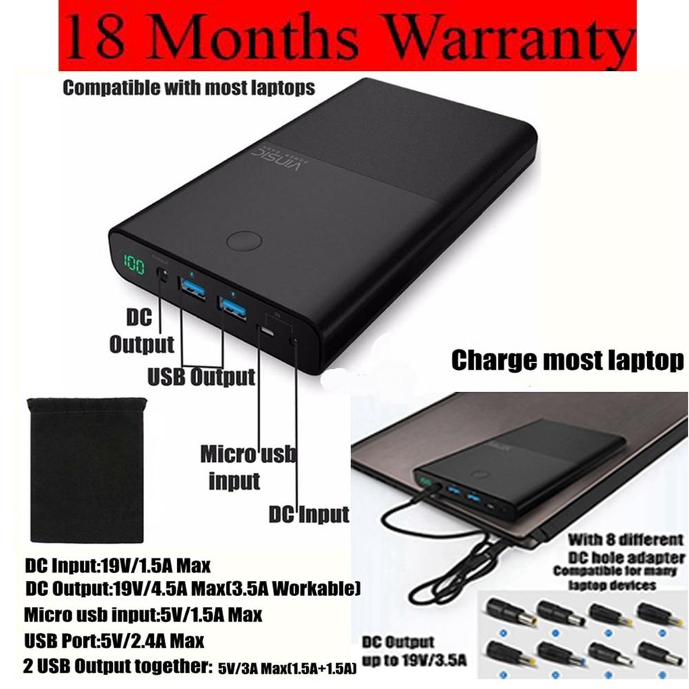 Vinsic 30000 mah Power Bank 30000 mah Power DC 19 v 3.5A für Notebook Laptop Batterie für Xiaomi iPhone Samsung huawei Ladegerät