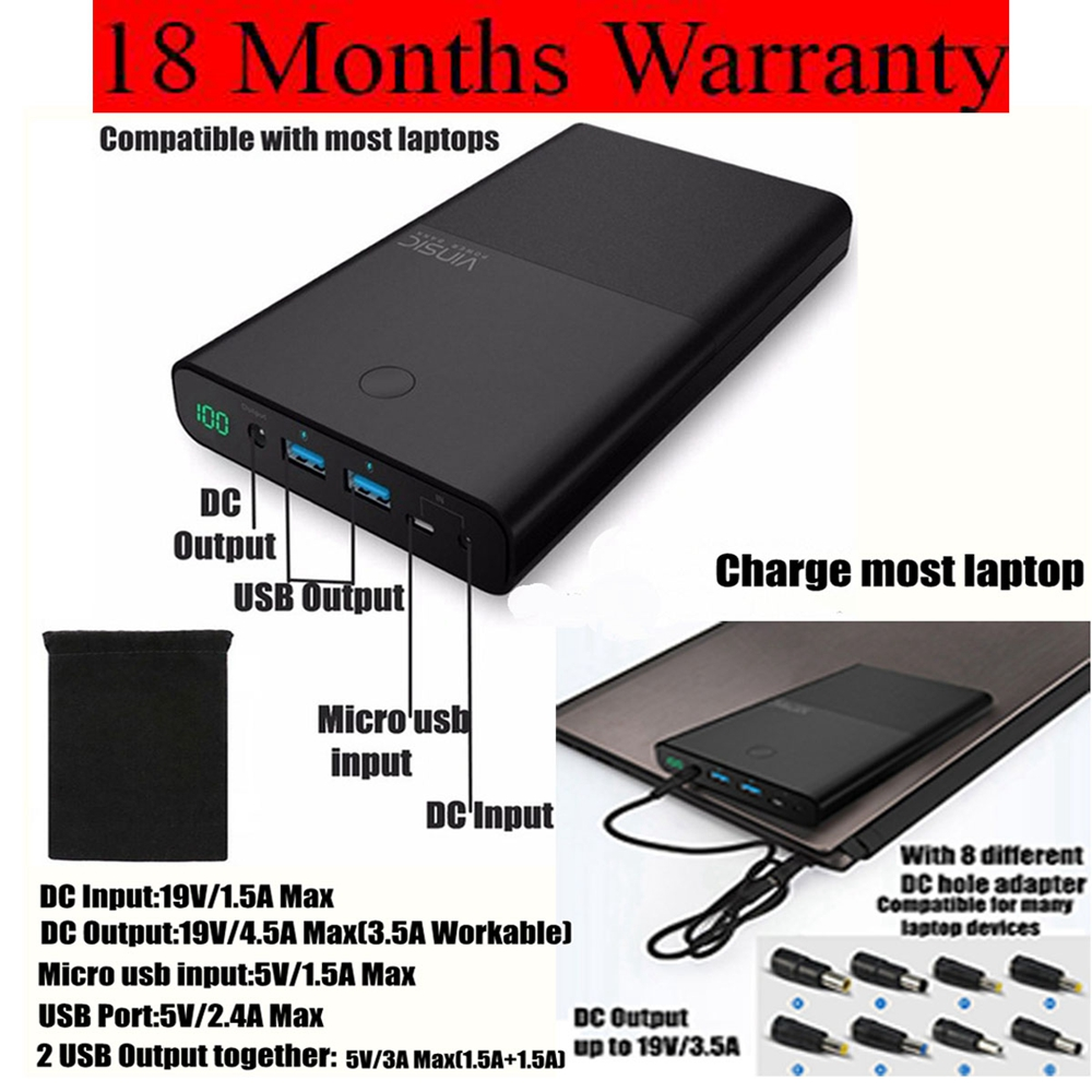 Vinsic 30000mah Power Bank 30000 mah Powerbank for Notebook Laptop for Xiaomi iPhone iPad Huawei 2 Ports 2.4A DC 19V 3.5A