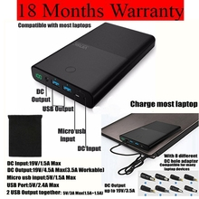 30000 mah Powerbank for Notebook Laptop for Xiaomi iPhone iPad Huawei 2 Ports 2.4A DC 19V 3.5A