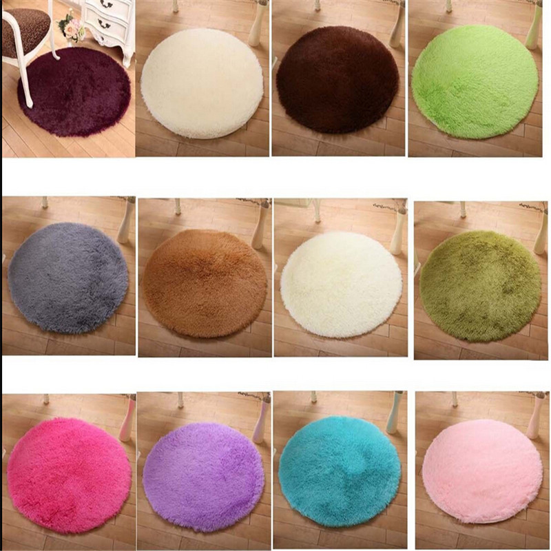 2017 Fashion 40 40cm Soft Home Textile Solid Small Round Anti Slip Chair Pad Cushions Rug Door Mats Carpet Floor Ef153