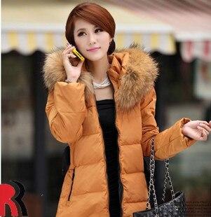2013 Winter Women Fashion luxury large fur collar slim thickening medium-long down coat wadded jacket outerwear H621