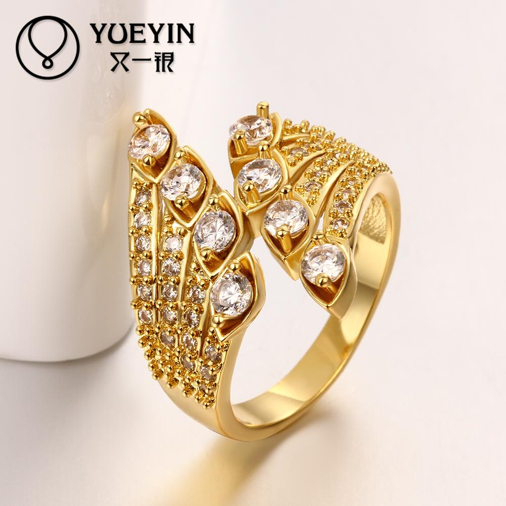 Beautiful Shining Crystal Ring Design Classic Fashion Gold Plating ...