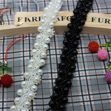 2Yards 2cm Bead Pearl Lace Trim Beading Lace Trimming Rhinestones Trim Lace Ribbon Costume Applique Sewing Craft недорого