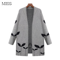 MISSFEBPLUM 2017 Women Long Cardigans And Poncho Knitted Open Stitch Cardigan Female Plus Size Casual Outerwear