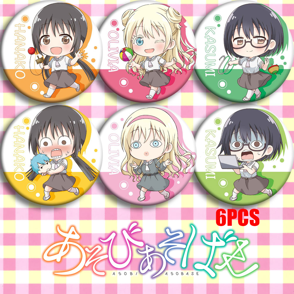 Japan Anime Asobi Asobase Hanako Honda Cosplay Party Bedge Cartoon Collection Bags Badges For Backpack Button Brooch Pin Gifts