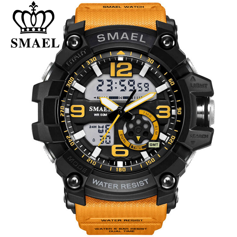 SMAEL Men Military Watch 50m Waterproof Wristwatch LED Quartz Clock Male relogios masculino 1617 Digital Sports Watches Men