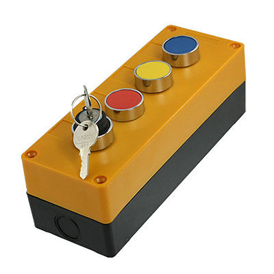 все цены на Red Yellow Blue Cap Momentary Key Lock Switch Push Button Station AC 240V 400V онлайн