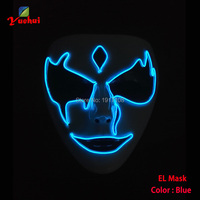 2019 Newest DC 3V EL wire Night ghost Mask Carnival terror Mask glowing Festival LED Neon Glowing Party Mask Halloween Supplies