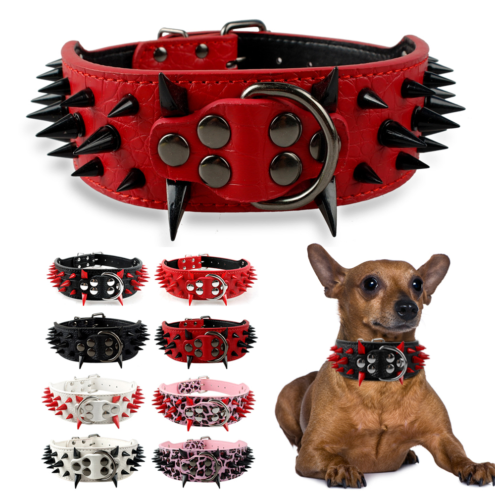 Svart / Röd Spikad & Studded Mjuk Läder Hund Hundkollar För Pitbull Bully Medium To Large Dogs
